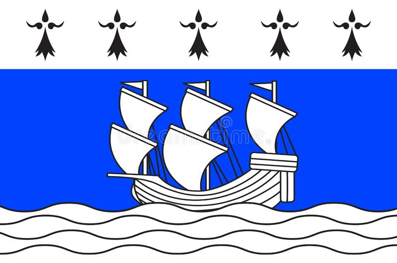 Bandeira de Redon no Ille-et-Vilaine de Brittany, França ilustração royalty free