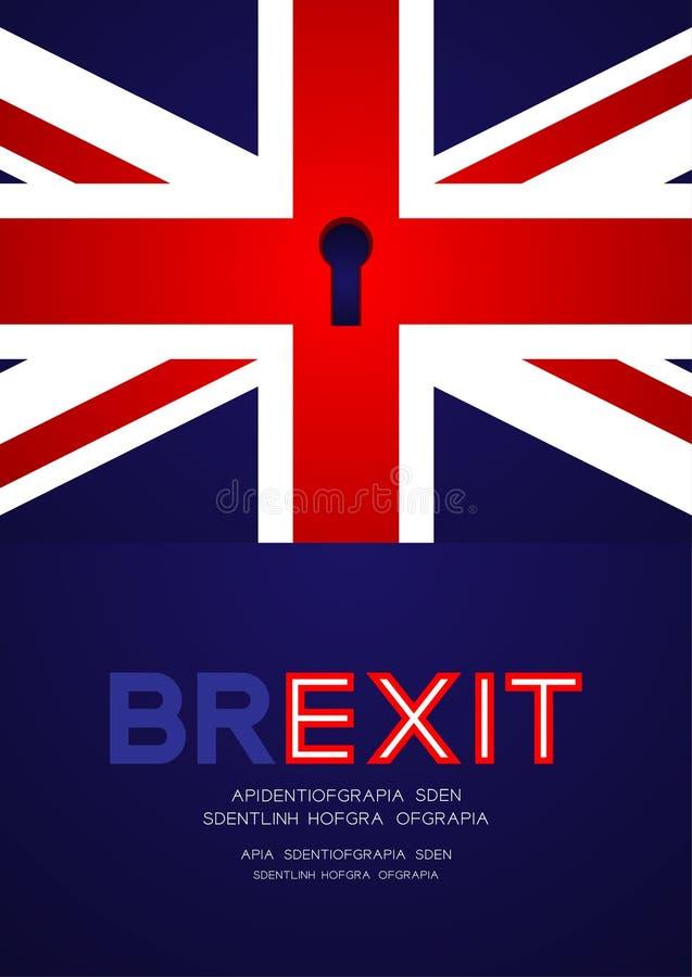 Bandeira de Reino Unido com buraco da fechadura, ilustração do projeto de conceito de Brexit isolada no fundo azul com espaço da  ilustração royalty free