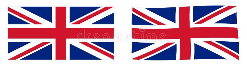 Bandeira de Reino Unido da Grã Bretanha e da Irlanda do Norte Union Jack Versão simples e levemente acenando ilustração stock