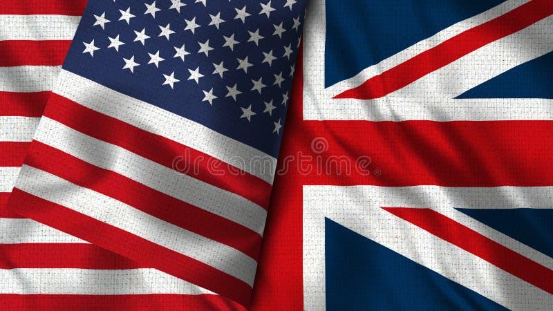 Bandeira de Reino Unido e de EUA - 3D bandeira da ilustração dois ilustração do vetor