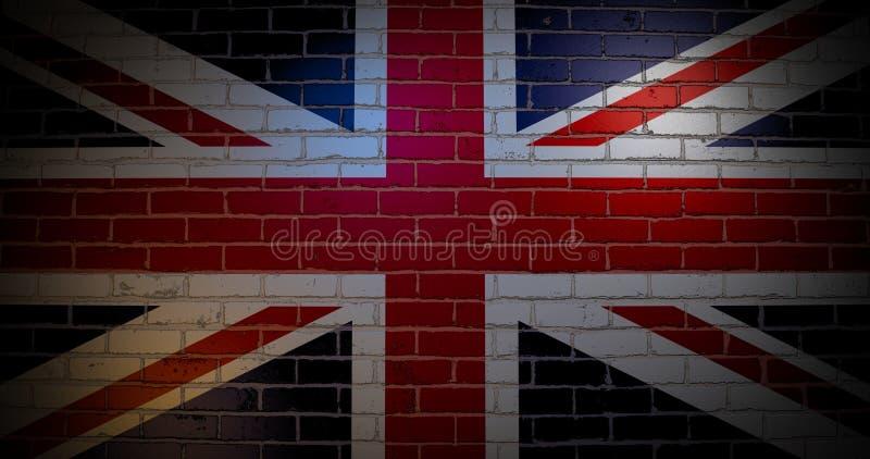 Bandeira de Reino Unido na parede de tijolo ilustração do vetor