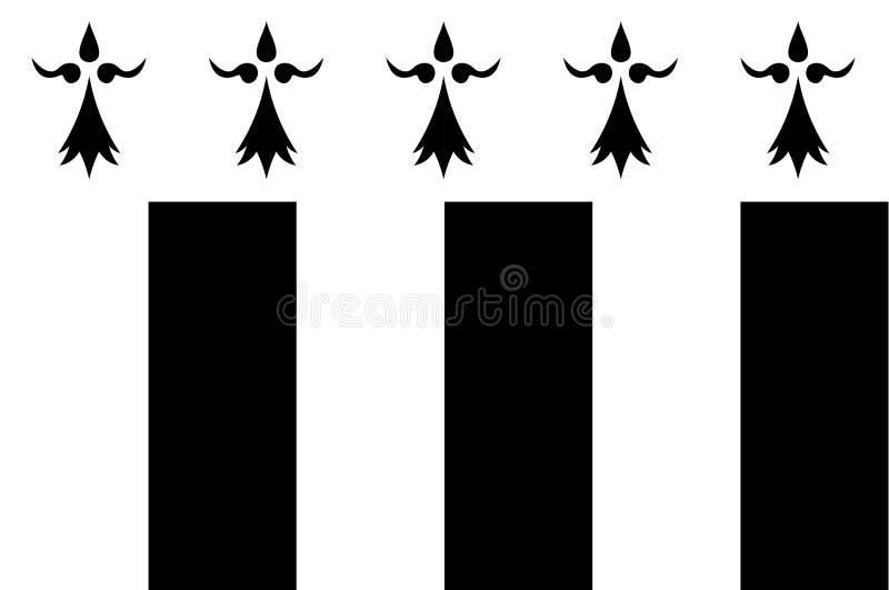 Bandeira de Rennes em Brittany, França ilustração do vetor