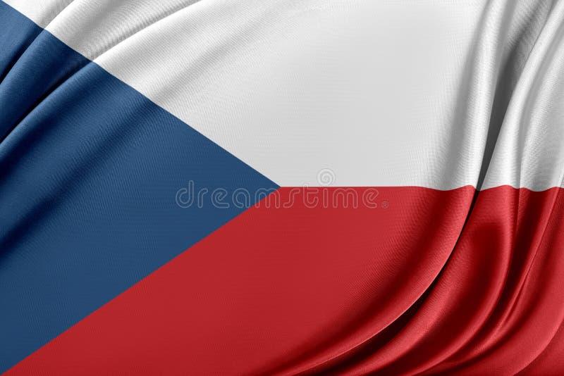 Bandeira de República Checa com uma textura de seda lustrosa ilustração royalty free