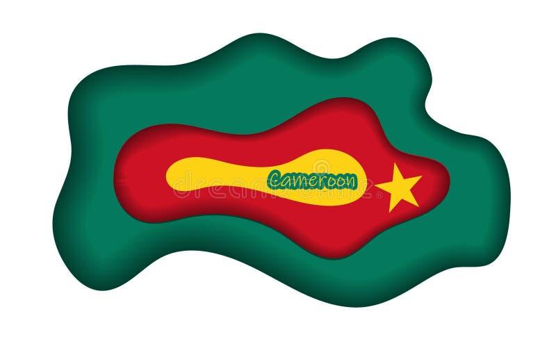Bandeira de República dos Camarões, Republic of Cameroon Molde da concessão, documento oficial com a bandeira de República dos Ca ilustração royalty free