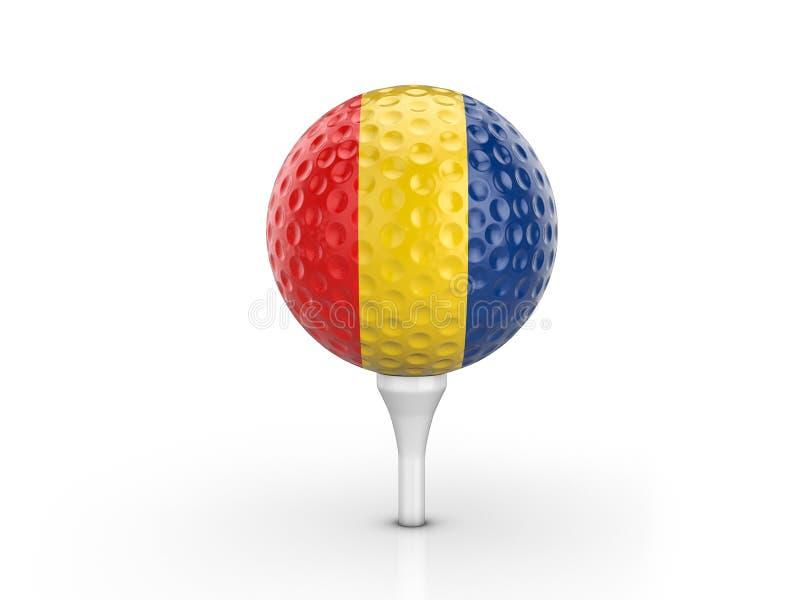 Bandeira de Romênia da bola de golfe ilustração do vetor