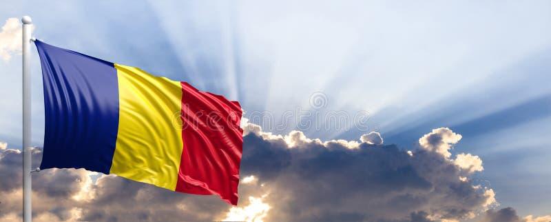 Bandeira de Romênia no céu azul ilustração 3D ilustração do vetor