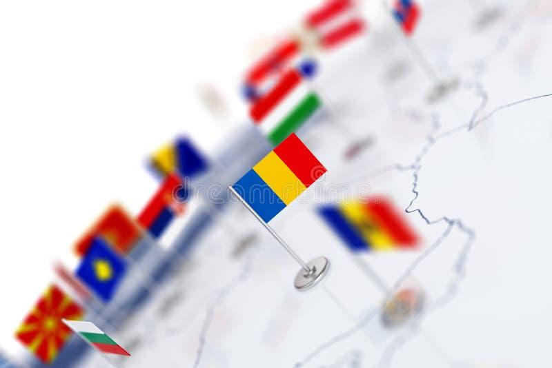 Bandeira de Romênia no foco Mapa de Europa com bandeiras de países ilustração stock