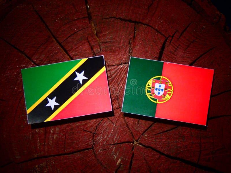 Bandeira de Saint Kitts e de Nevis com bandeira portuguesa em um coto de árvore fotografia de stock royalty free