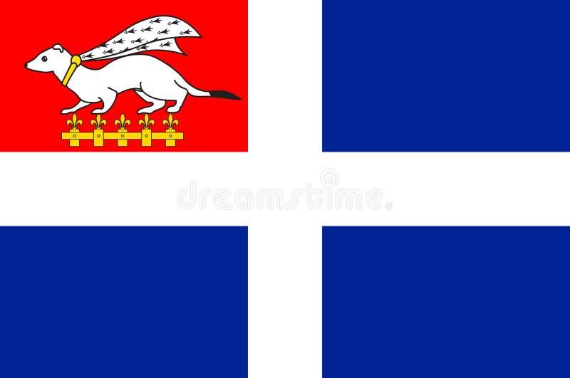 Bandeira de Saint Malo no Ille-et-Vilaine de Brittany, França ilustração stock