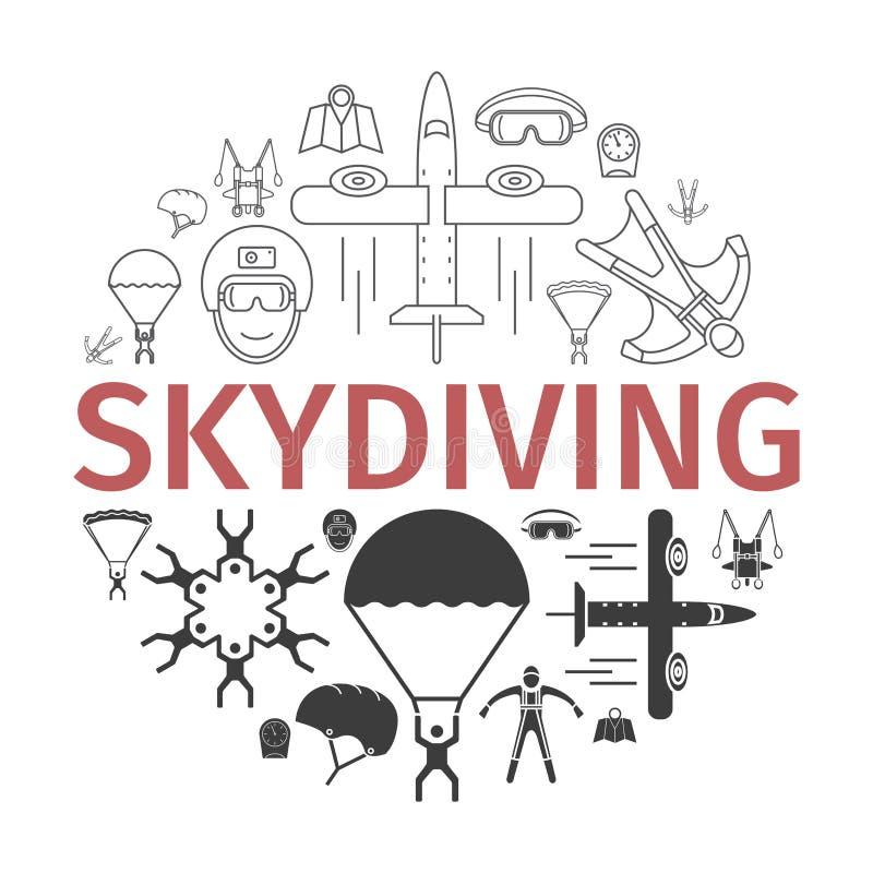 Bandeira de salto de paraquedas skydiving Ilustração do vetor ilustração royalty free