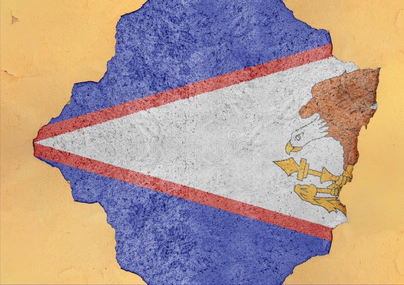 Bandeira de Samoa Americana do estado de E.U. no furo rachado concreto grande imagem de stock royalty free