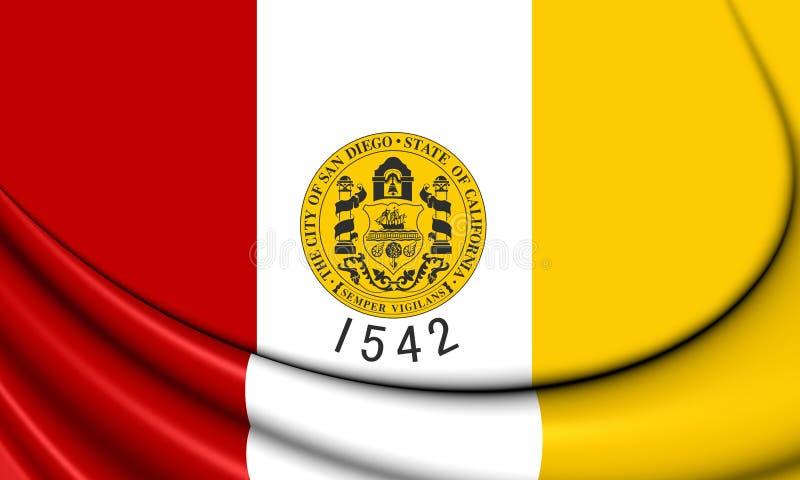 Bandeira de San Diego California, EUA ilustração stock