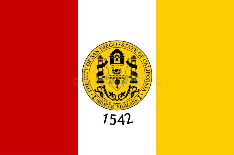 Bandeira de San Diego City, Califórnia, EUA ilustração royalty free