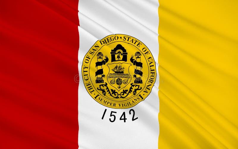 Bandeira de San Diego City, Califórnia, EUA ilustração stock