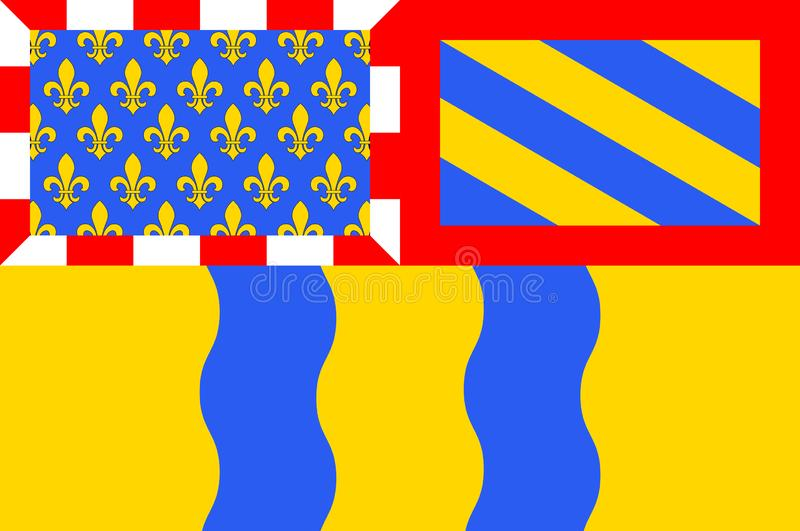 Bandeira de Saone e de Loire em Borgonha, França ilustração do vetor