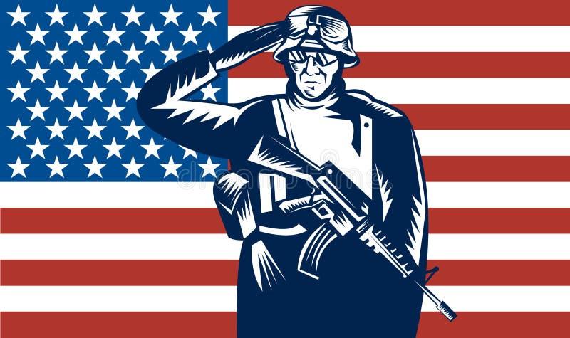 Bandeira de saudação do recruta militar dos E.U. na parte traseira ilustração do vetor