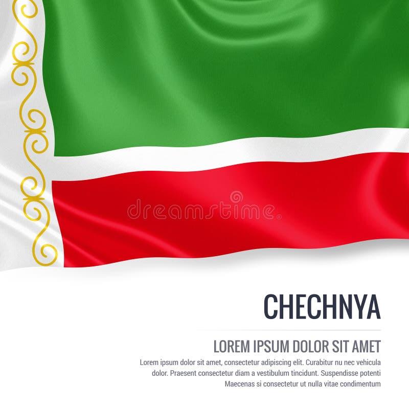 Bandeira de seda de Chechnya que acena em um fundo branco isolado com a área de texto branca para sua mensagem do anúncio ilustração stock