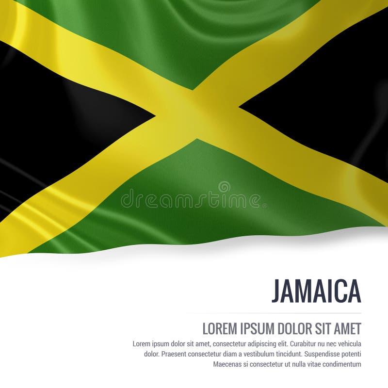 Bandeira de seda de Jamaica que acena em um fundo branco isolado com a área de texto branca para sua mensagem do anúncio ilustração royalty free