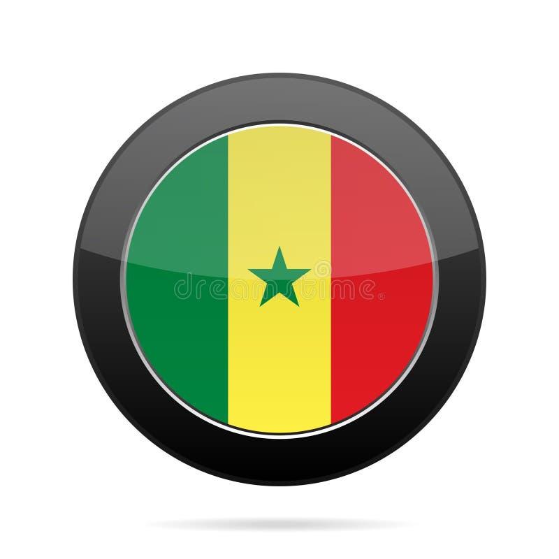 Bandeira de senegal Botão redondo preto brilhante ilustração stock
