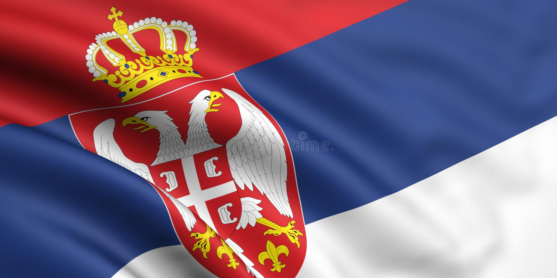 Bandeira de Serbia foto de stock