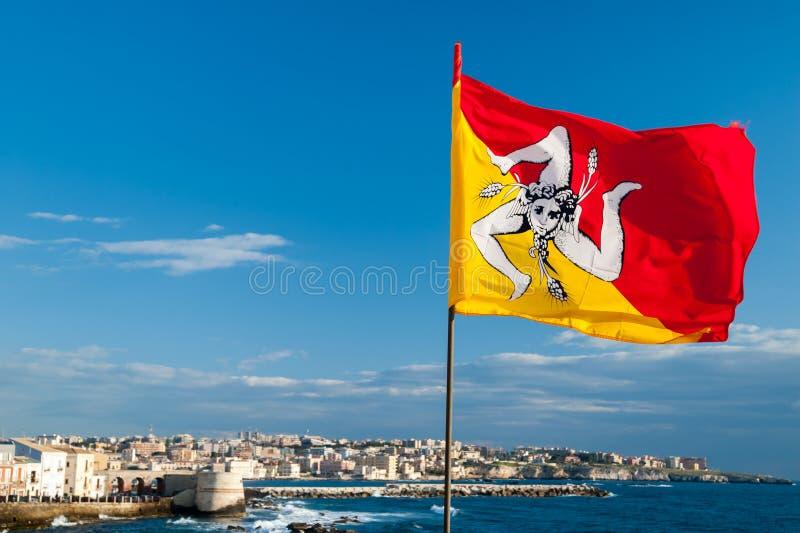 Bandeira de Sicília imagem de stock