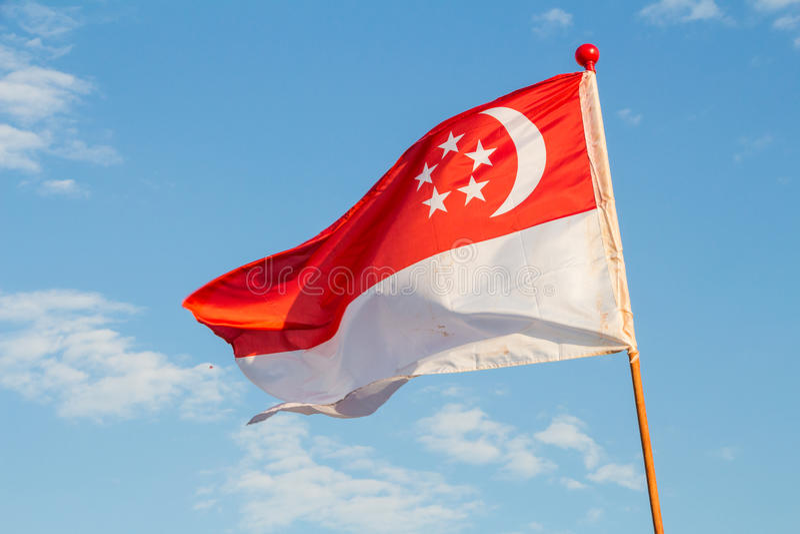 Bandeira de Singapore imagem de stock royalty free