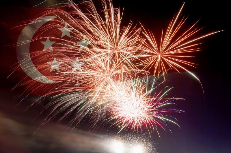 Bandeira de Singapura com fogos-de-artifício ilustração stock