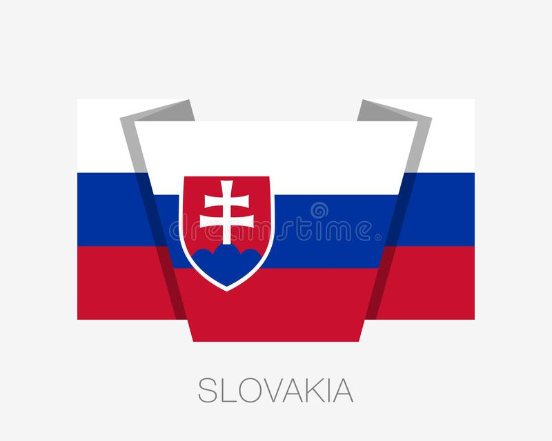 Bandeira de Slovakia Bandeira de ondulação do ícone liso com nome de país ilustração royalty free