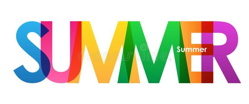Bandeira de sobreposição colorida das letras do VERÃO ilustração do vetor