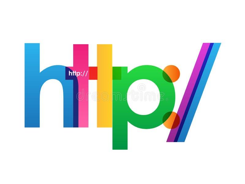Bandeira de sobreposição colorida do vetor das letras do HTTP ilustração do vetor