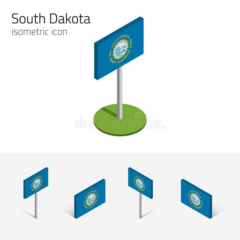 Bandeira de South Dakota EUA, ícone isométrico do vetor 3D ilustração stock