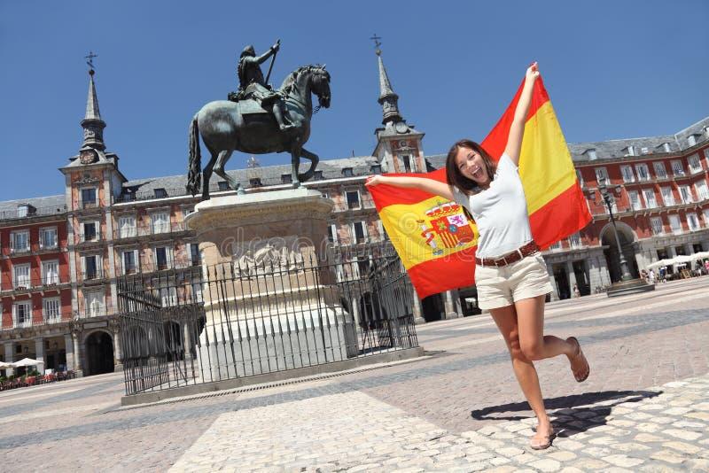 Bandeira de spain do turista de Madrid fotos de stock royalty free