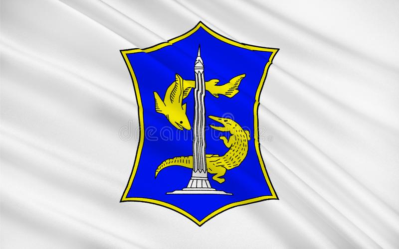 Bandeira de Surabaya, Indonésia ilustração royalty free