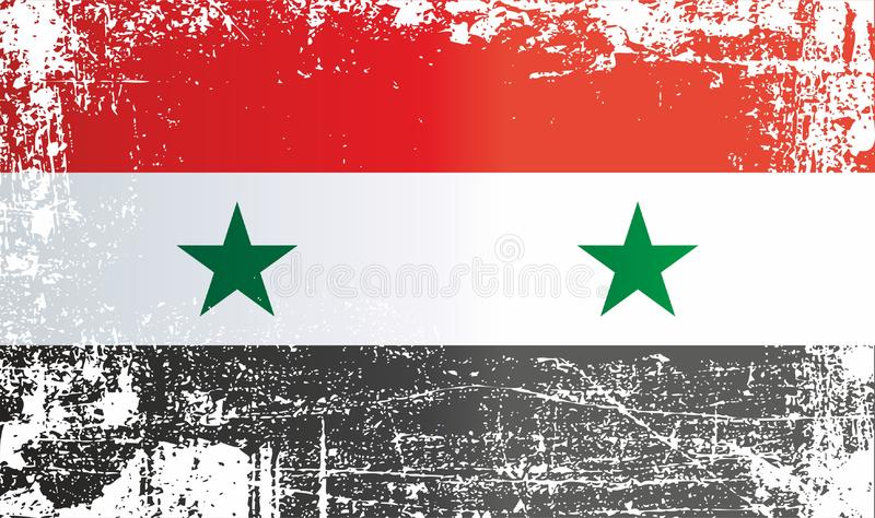 Bandeira de Syria República árabe síria, pontos sujos enrugados ilustração do vetor