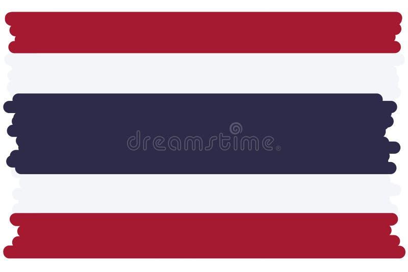 Bandeira de Tailândia, cores oficiais novas, estilo dos desenhos animados, escova de pintura bonita foto de stock