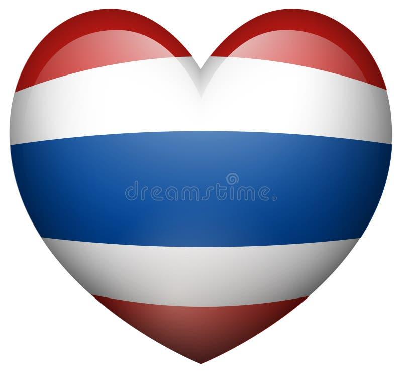 Bandeira de Tailândia na forma do coração ilustração royalty free