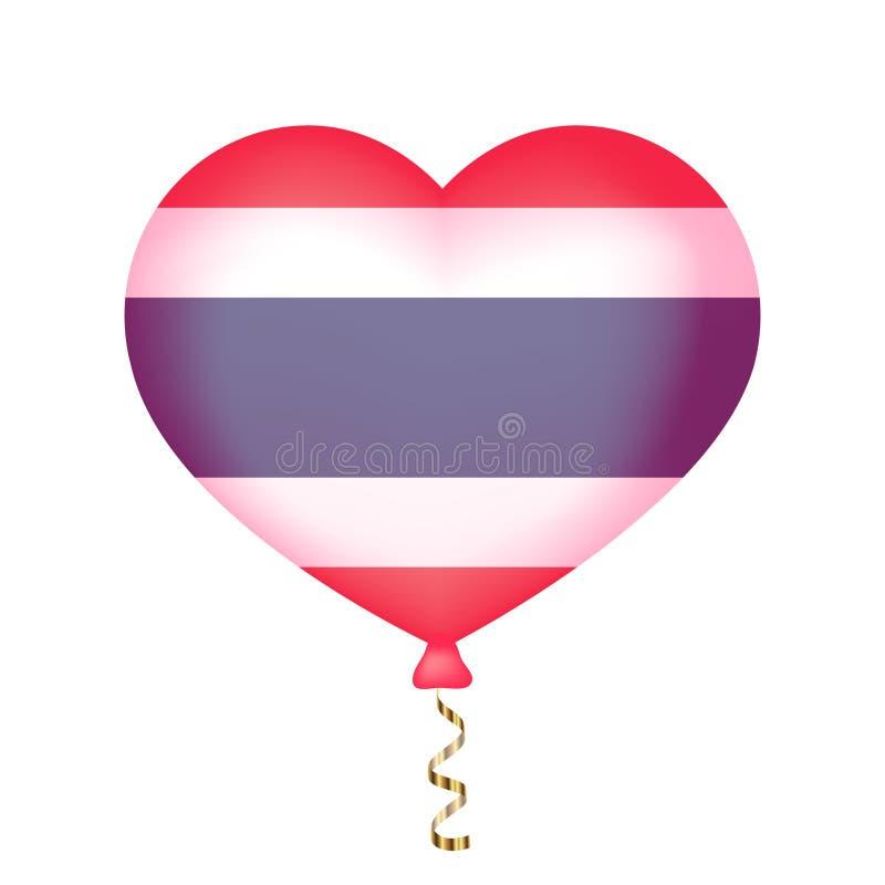 Bandeira de Tailândia na forma do coração ilustração do vetor
