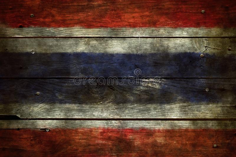 Bandeira de Tailândia na madeira imagem de stock