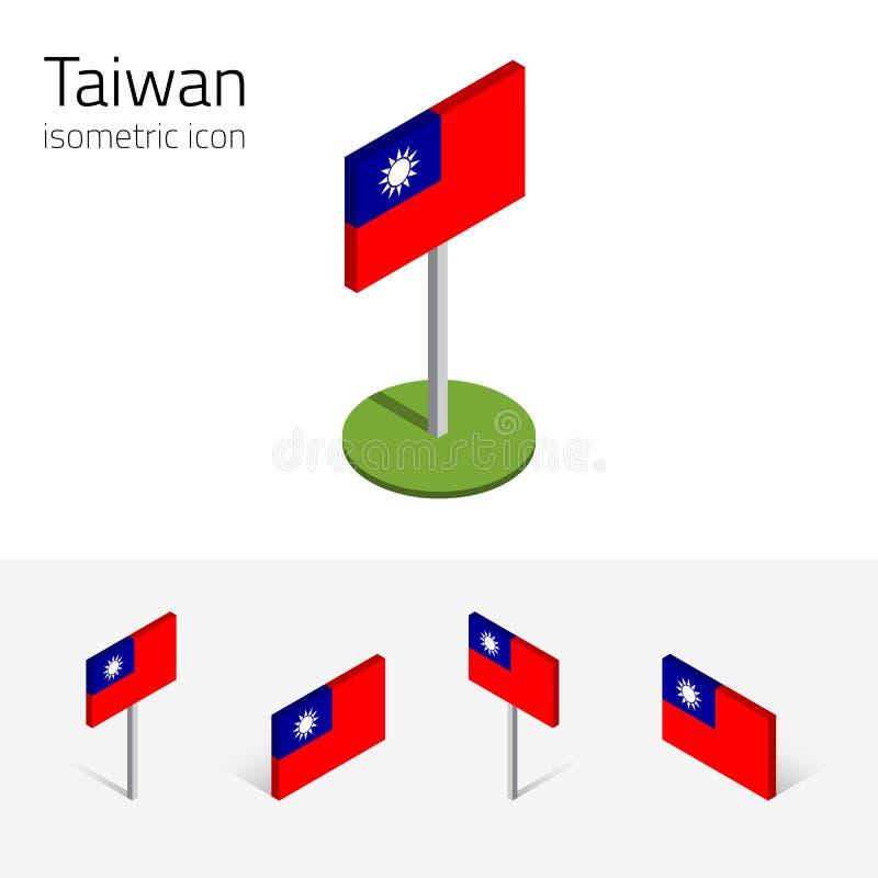 Bandeira de Taiwan, grupo do vetor dos ícones 3D lisos isométricos ilustração stock