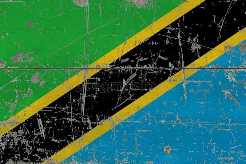 Bandeira de Tanzânia do Grunge na superfície de madeira riscada velha Fundo nacional do vintage foto de stock