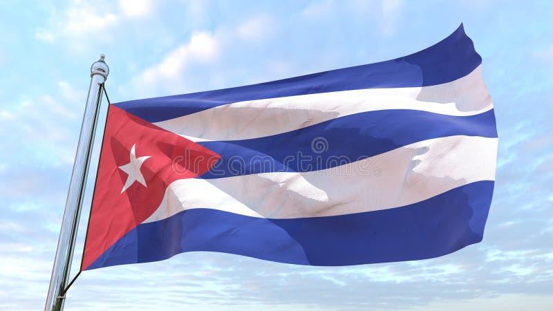 Bandeira de tecelagem do país Cuba ilustração do vetor