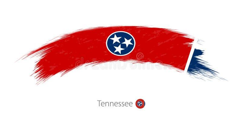 Bandeira de Tennessee no curso arredondado da escova do grunge ilustração royalty free
