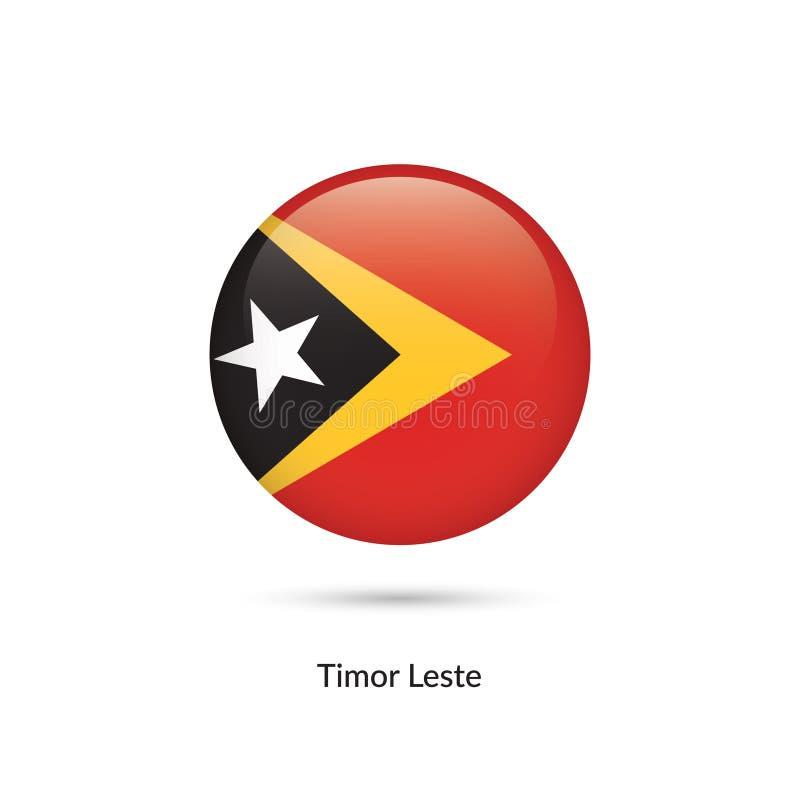 Bandeira de Timor-Leste - de Timor-Leste - botão lustroso redondo ilustração stock