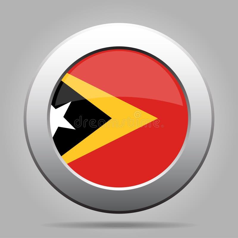 Bandeira de Timor Oriental Botão redondo cinzento do metal brilhante ilustração stock