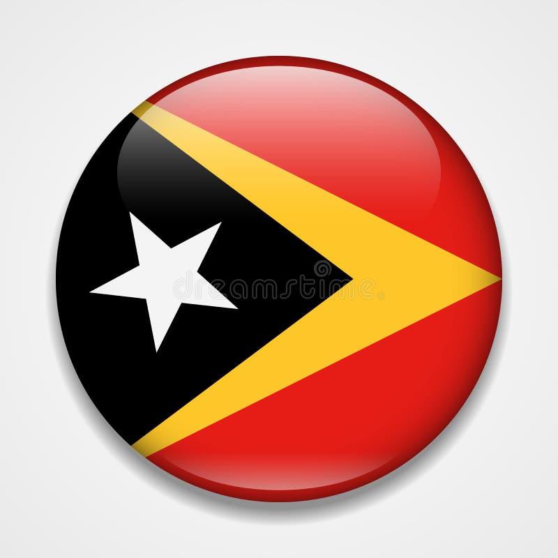 Bandeira de Timor Oriental Crachá lustroso redondo ilustração stock