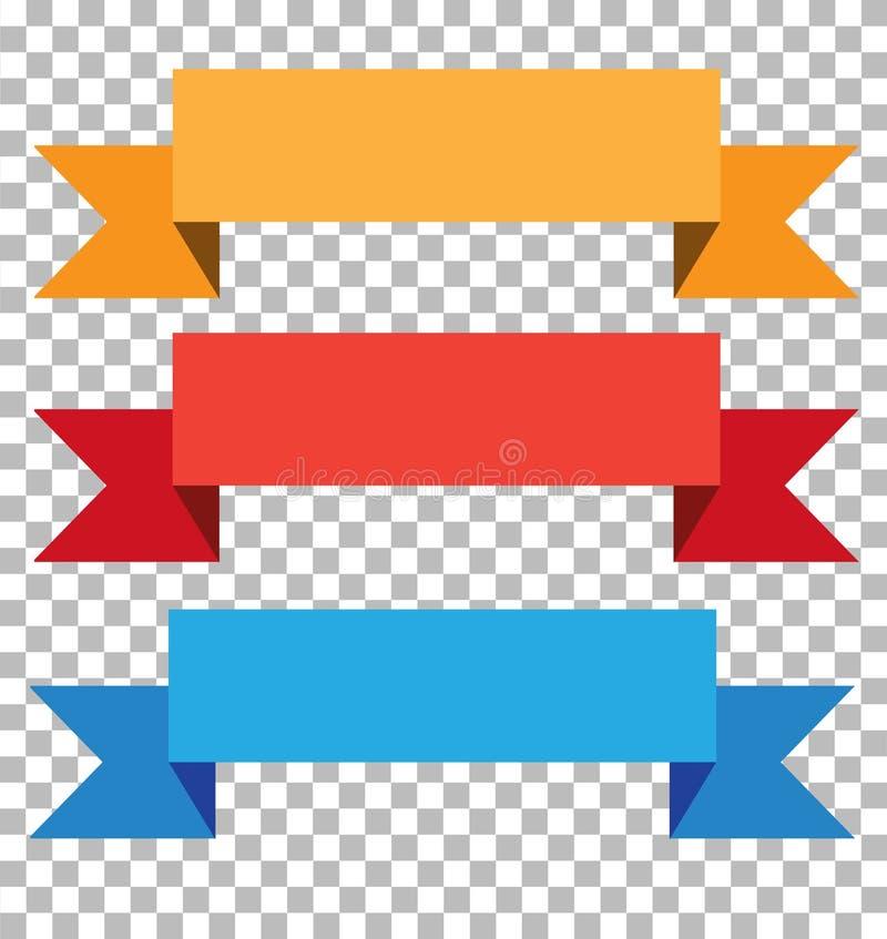Bandeira de três fitas no fundo transparente ilustração stock