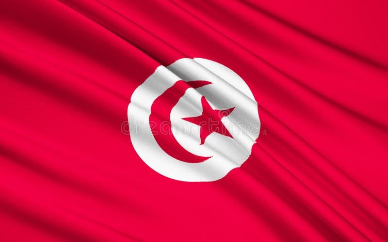 Bandeira de Tunísia ilustração stock