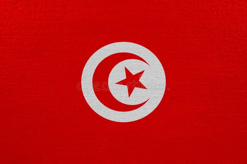 Bandeira de Tunísia na lona ilustração royalty free