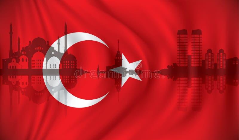 Bandeira de Turquia com skyline de Istambul ilustração royalty free