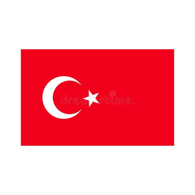 Bandeira de Turquia, ?cone do vetor Vermelho turco da cor da bandeira isolado sobre ilustração royalty free